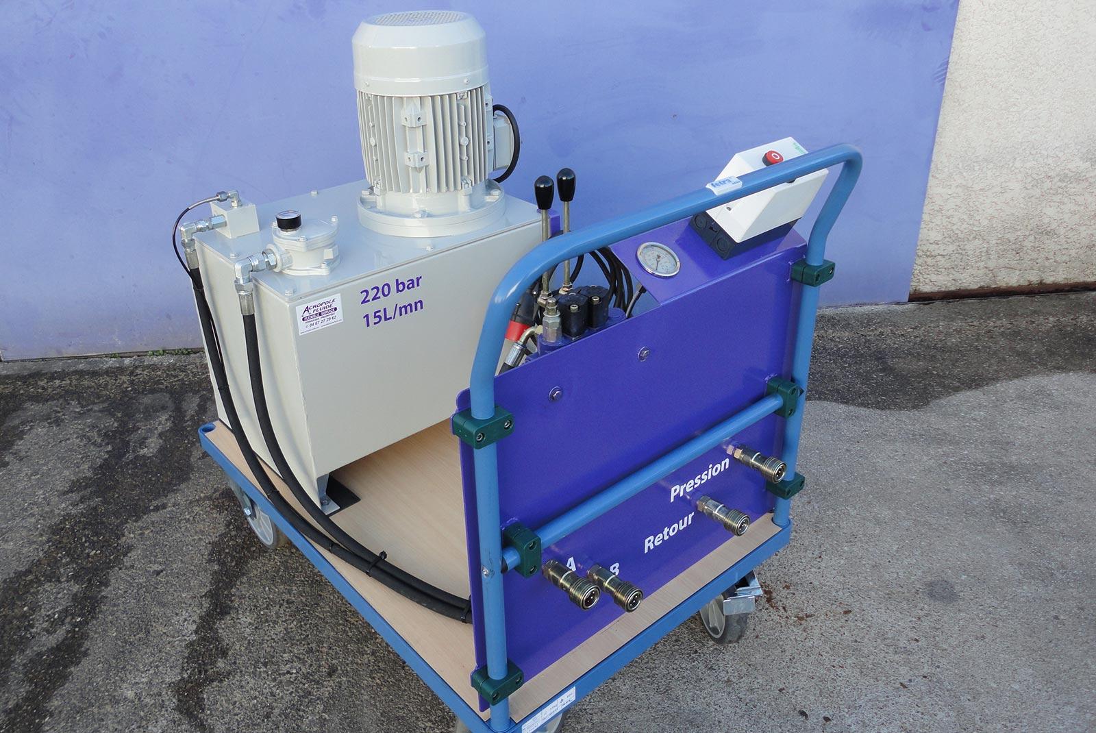Centrale hydraulique 5.5 kw sur chariot pour essais atelier
